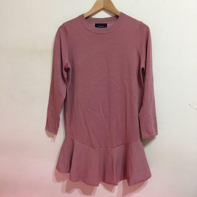 韓版針織魚尾粉洋裝/上衣