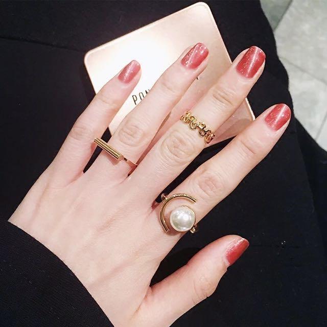 韓 珍珠 食指 尾戒 關節 戒指 三件ㄧ組 預購