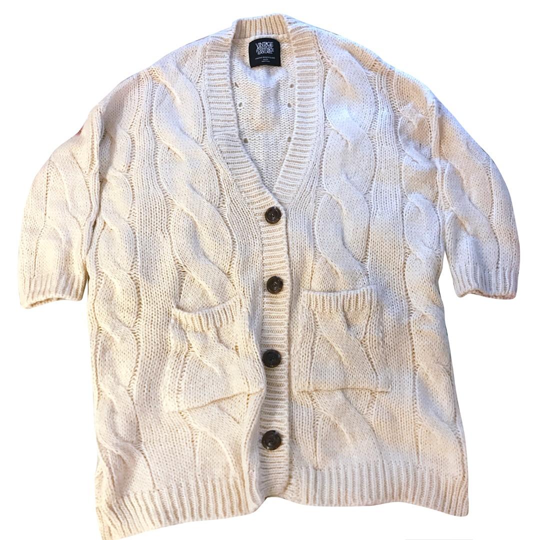 韓國 🐐羊咩咩 慵懶感 麻花 厚針織 罩衫 針織外套 長版外套 米白