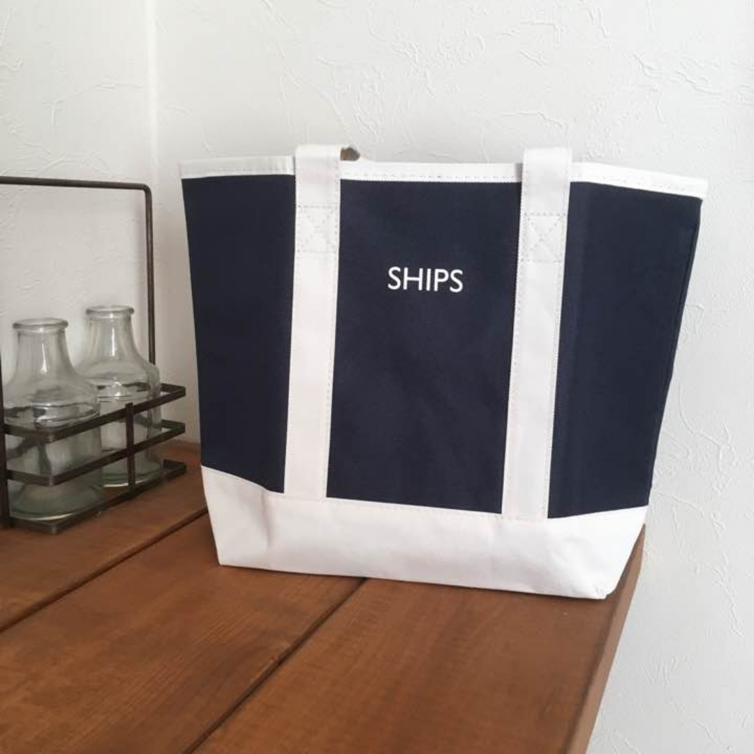 日本限定 簡易生命保險 聯名 SHIPS 藍白撞色托特包 手提袋 便當袋 購物袋 小拎包