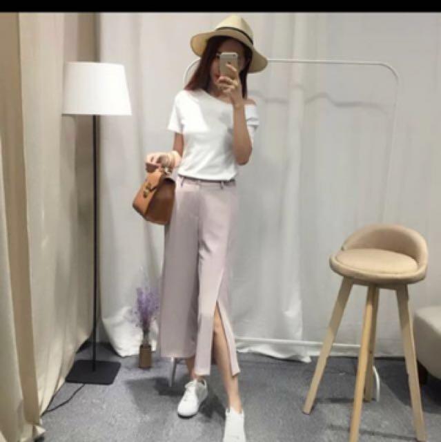 全新 粉色粉藕色西裝褲 s