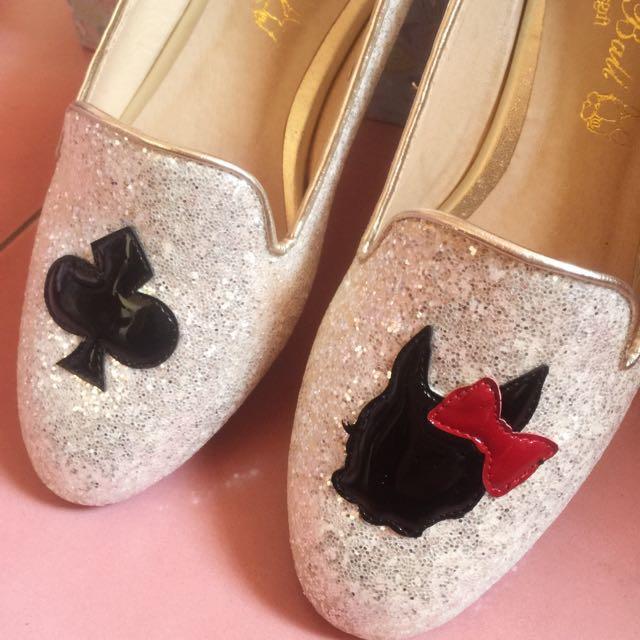 全新含運 Grace Gift Crystal Ball 閃亮亮銀白色亮片娃娃鞋 Gracegift Kazana Toms