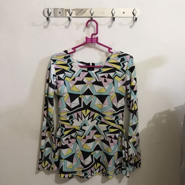 Abstract Long Sleeve Top