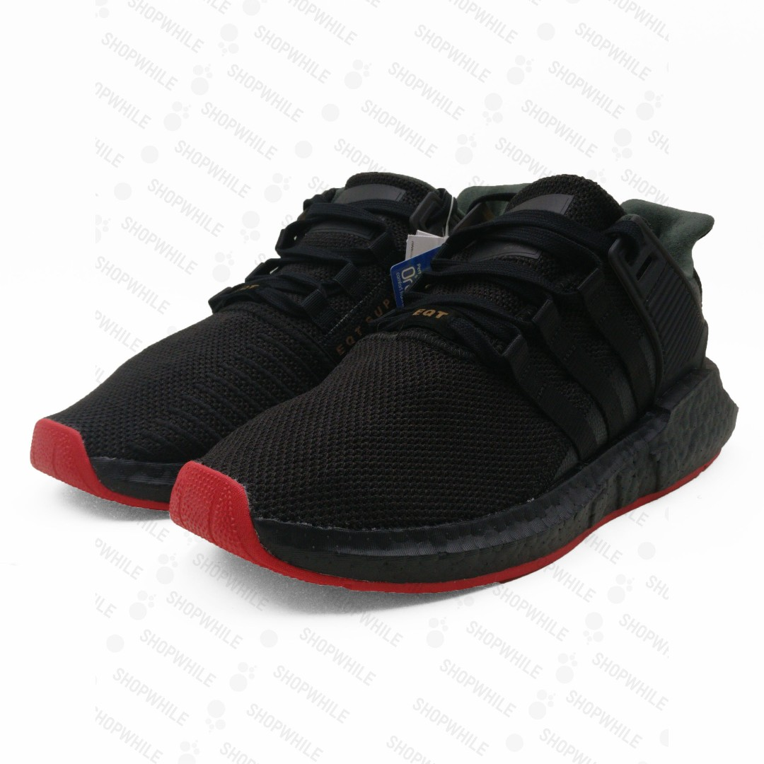 san francisco price reduced good looking adidas EQT Equipment 93/17 Boost Triple Black Red Carpet ...