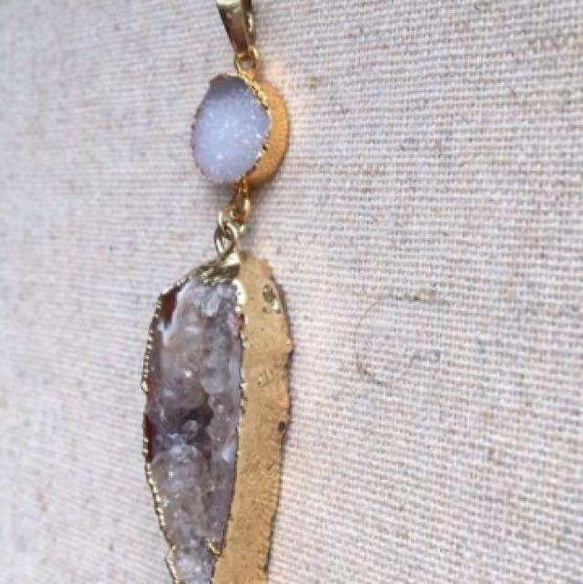 Agate/Druzy Gemstone Necklace