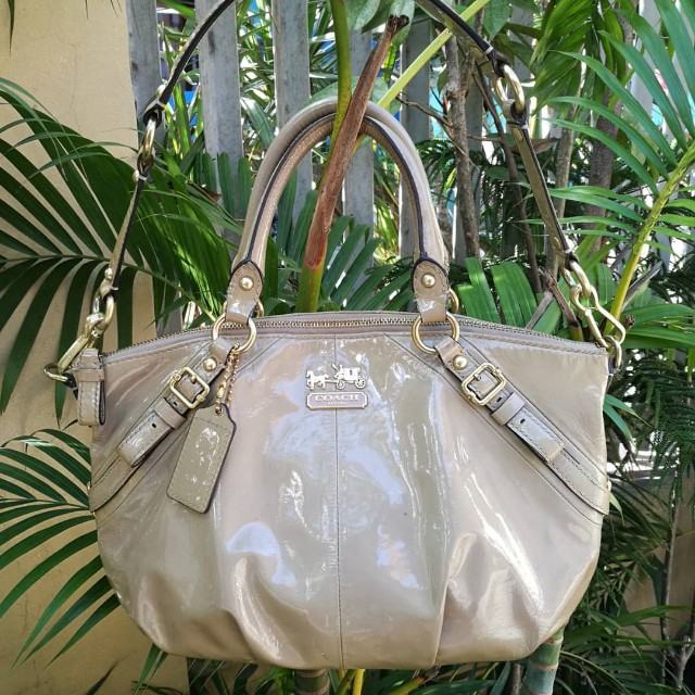 Authentic Coach Madison Patent Leather Sophia Satchel Bag