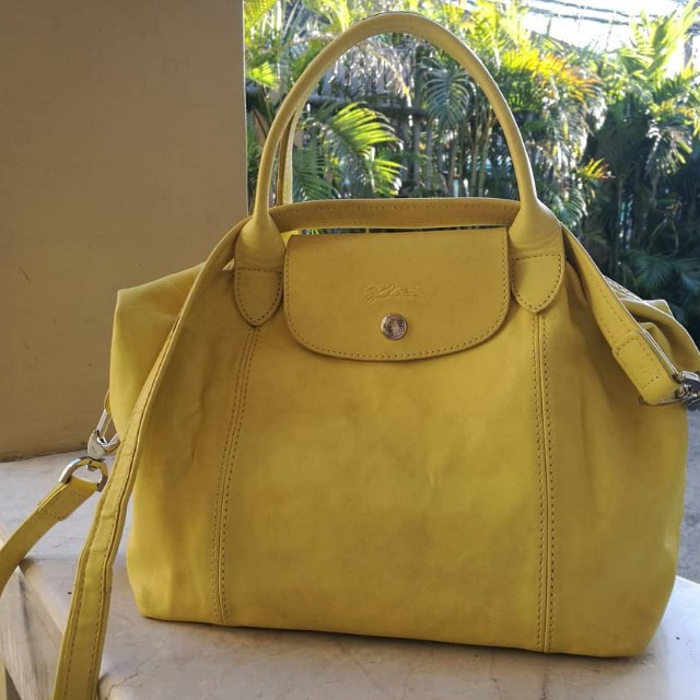 Authentic Longchamp Le Pliage Cuir Small in Lime