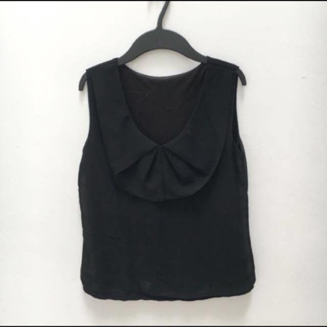 Black chiffon peterpan collar top