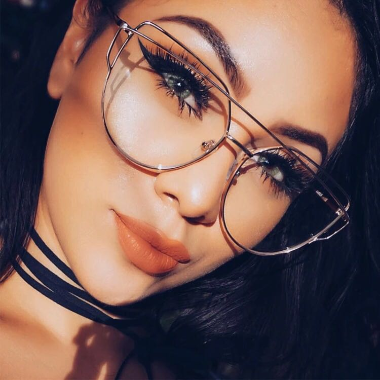 Clear lens with silver frame retro glasses