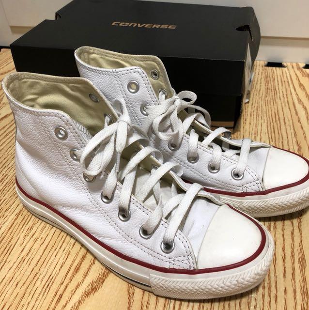 Converse 白色高筒 皮鞋