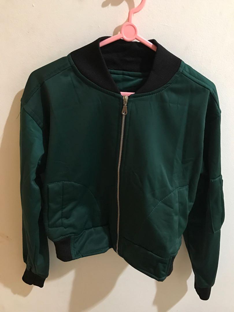 Crop bomber jacket -green