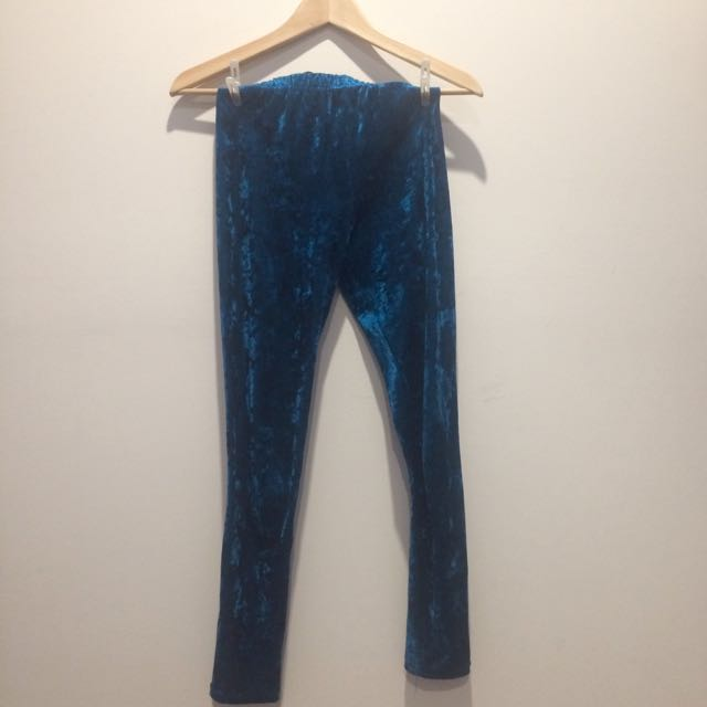 Dangerfield blue velvet leggings size S