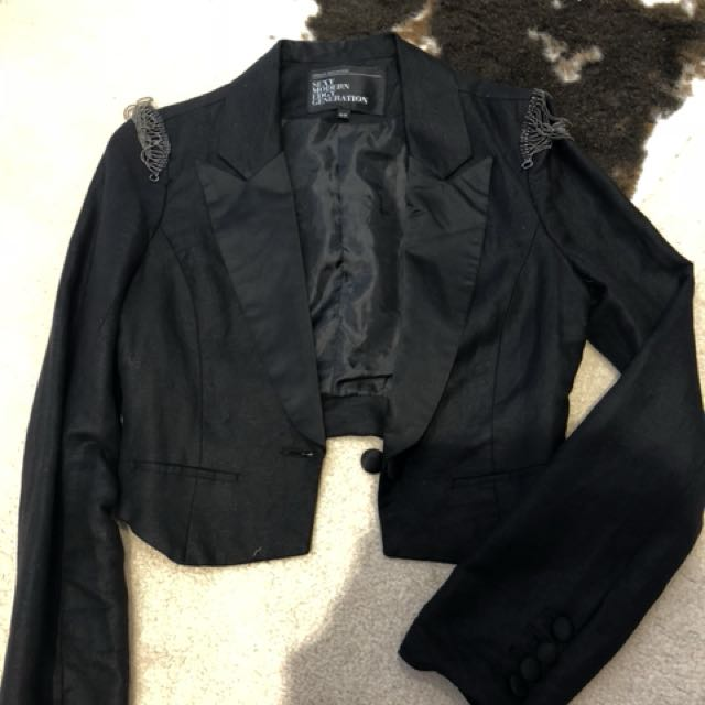 Embellished cropped blazer size small