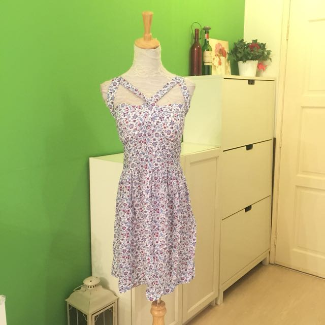 Floral Cage Front Dress