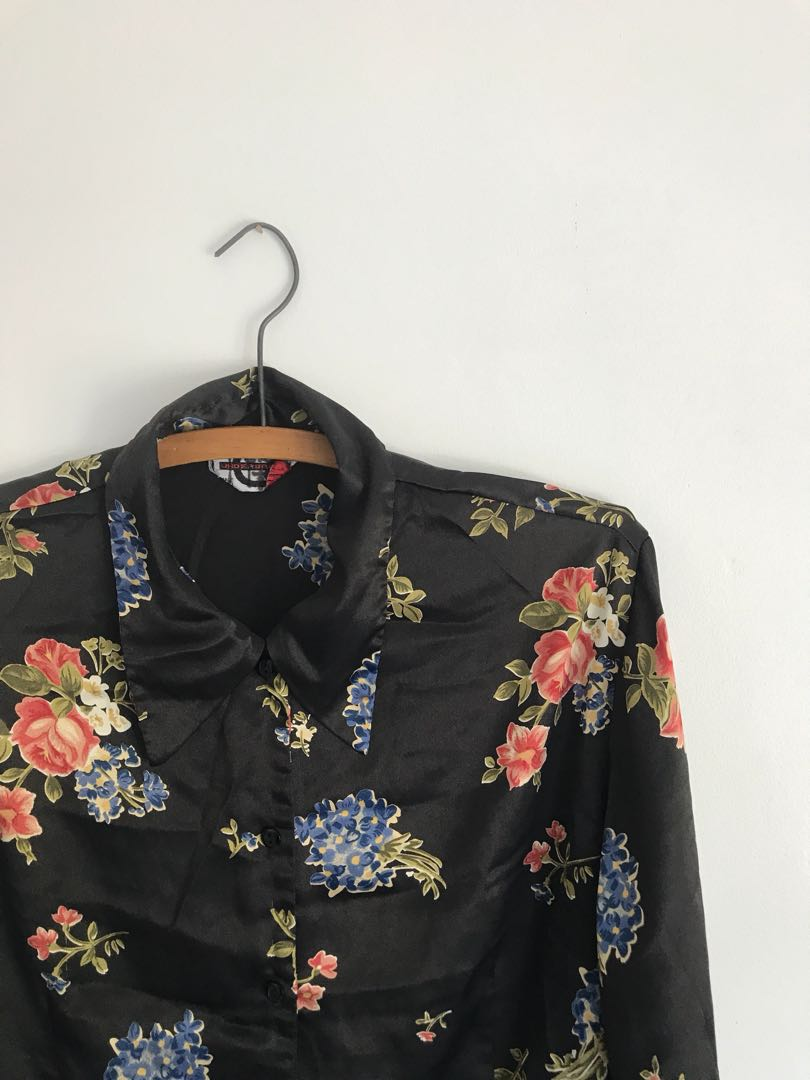 Floral silky blouse