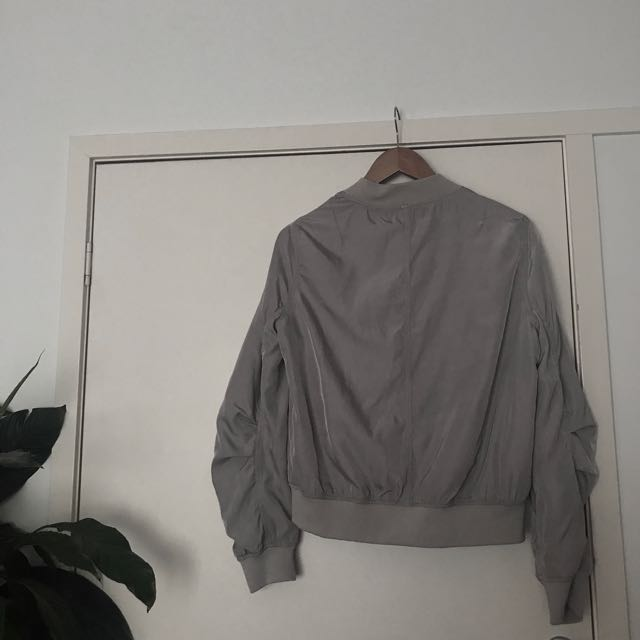 Grey bomber worn twice