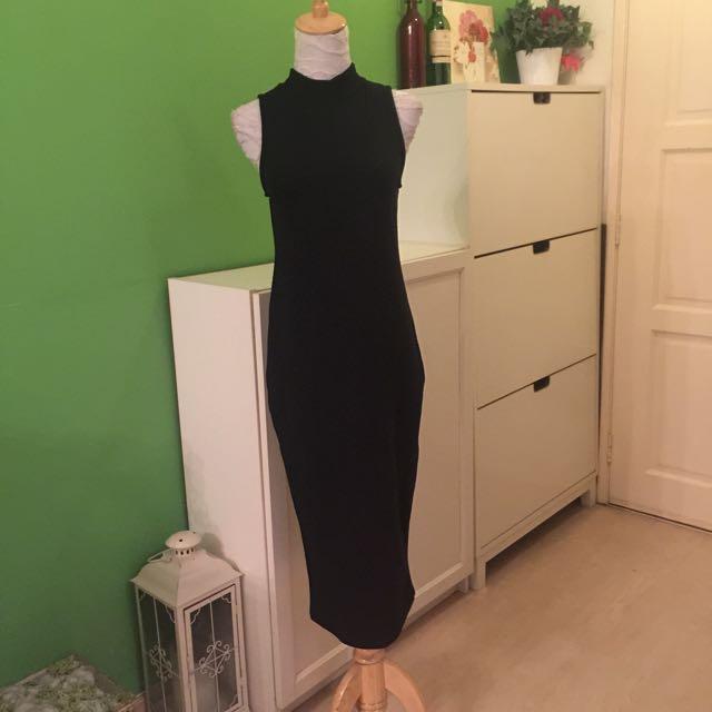 High Neck Black Midi Dress