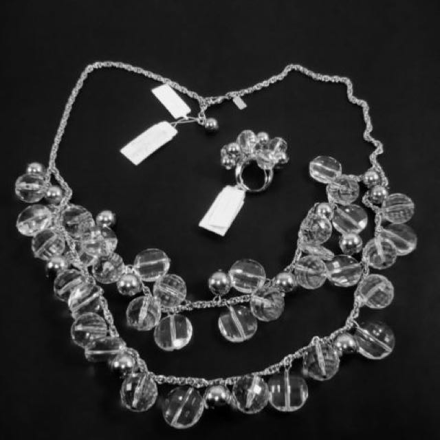 KATE SPADE ''Gum Drops''Clear Ring And Necklace Set-Crystal Silver