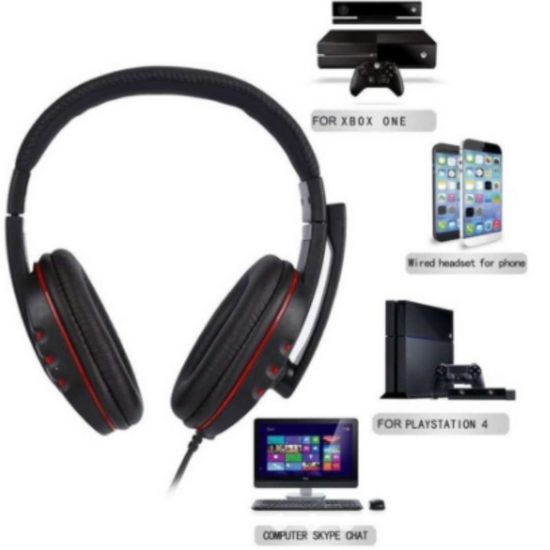 Laptop PC Computer Headphone Stereo Gaming Headband Headset 3.5mm Jack Wired