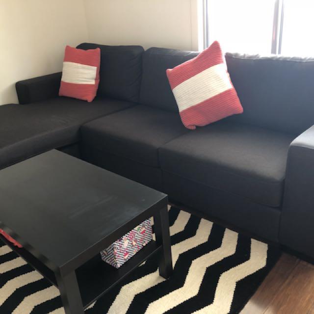 Large three seats sofa with L shape corner sofa
