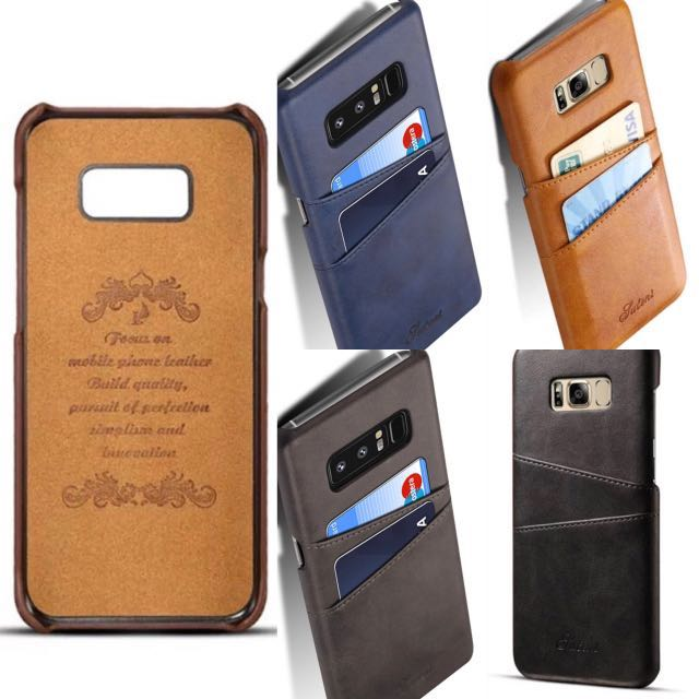 Leather Case Card Slot Casing Samsung Galaxy S8 S8+ Note 8