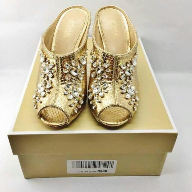 Michael Kors Edie Mule Pale Gold High Heels