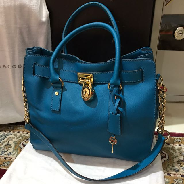 Michael Kors Hamilton Large Saffiano Leather Tote in Blue 4b2d30e377940
