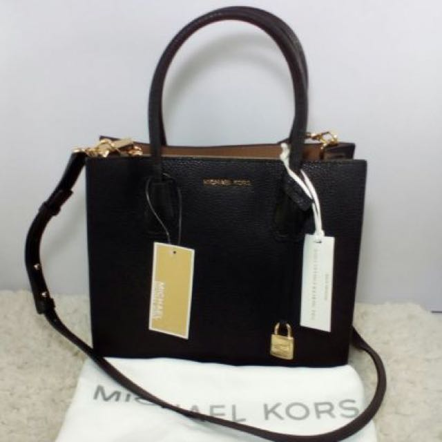 MICHAEL KORS Mercer MD Convertible Leather Satchel Bag-BLACK