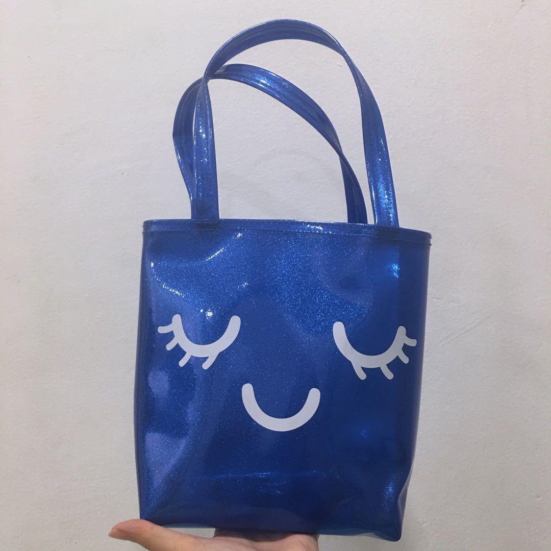 Mini Tote Bag in Blue Glitter