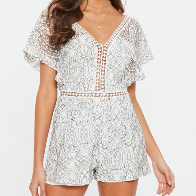 Missguided White Lace Playsuit