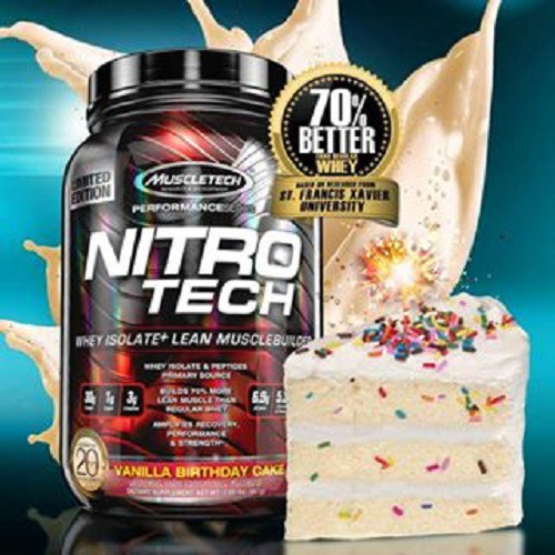 CLEARANCE Muscletech Nitro Tech 4 Lbs Whey Protein Birthday Cake ON