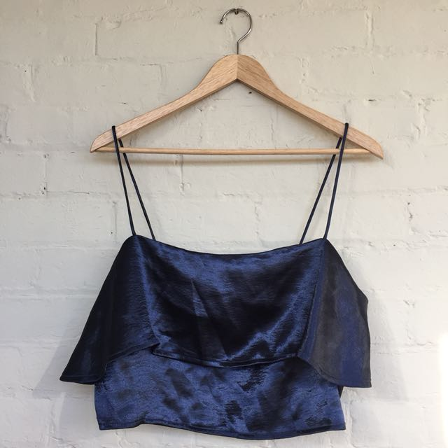 Navy blue sateen cropped tank urban outfitters