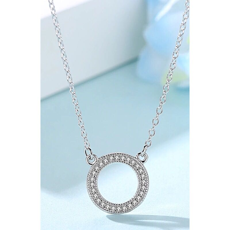 New Sterling Silver Pave Infinity Circle Necklace