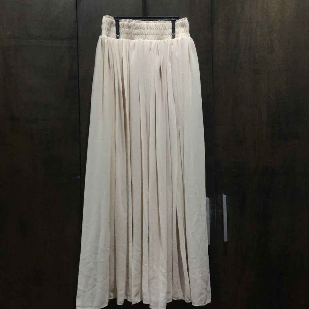 Nude Chiffon Midi Skirt