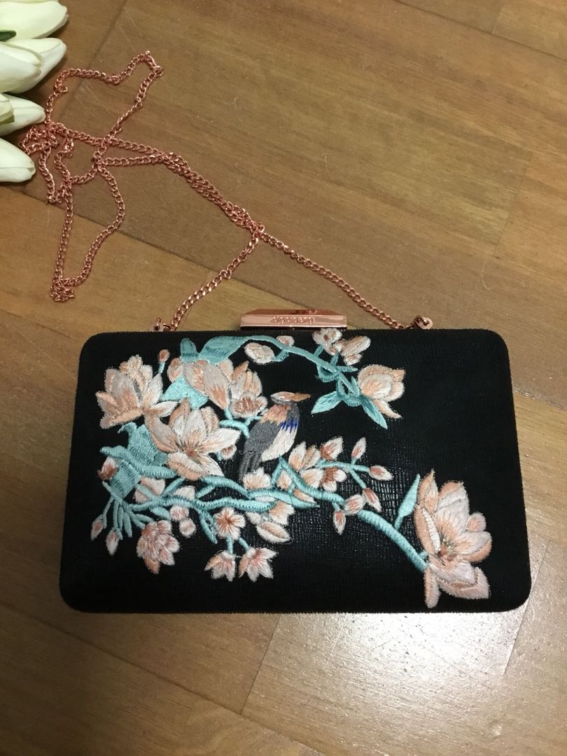 Olga Berg embroidered black clutch