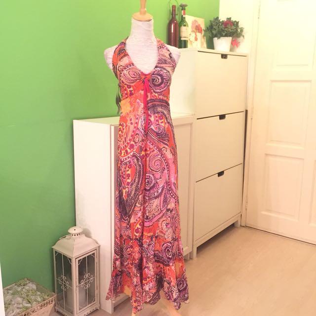 Orange Ethnic Print Maxi Dress