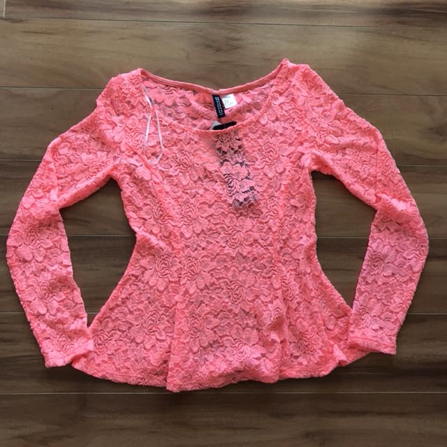Orange long sleeve lace peplum top