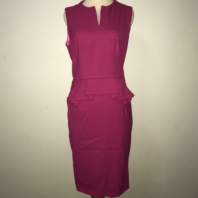 Pink Peplum Dress (Plus Size), Women\'s Fashion, Clothes, Dresses ...
