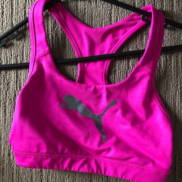 Pink puma crop bra