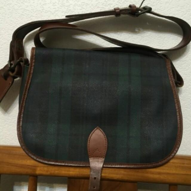 polo ralph lauren 綠色格紋肩背包 側背包 古董包 古著 vintage 早期 絕版真品