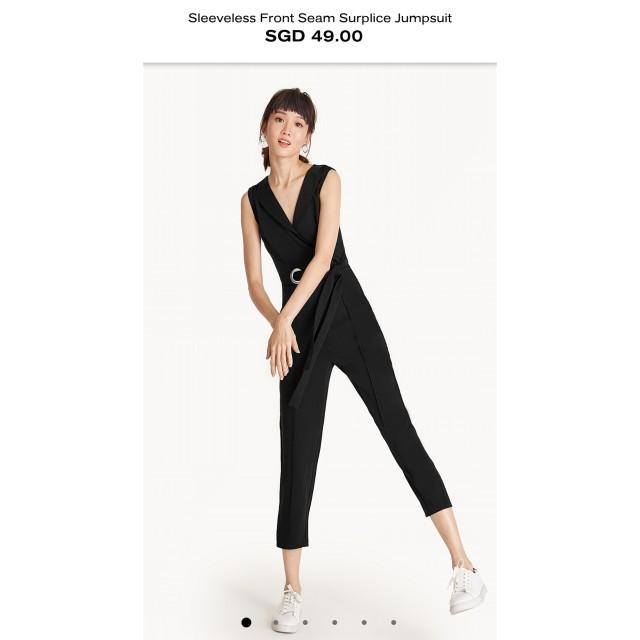 bc8c870e356 Pomelo sleeveless front seam surplice jumpsuit