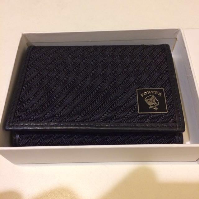 【急售可小刀議價】Porter International 黑色真皮外層布面多卡夾層短夾