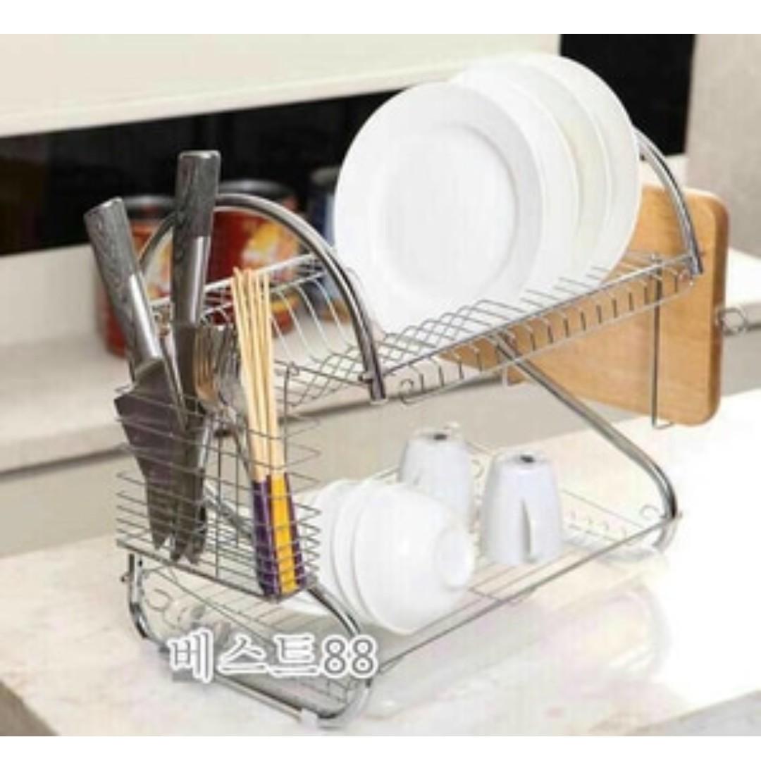 Rak Piring 2 Tier Cutlery Basket Dish Utensil Drying Rack Silver Basila Plastic Red Stainless
