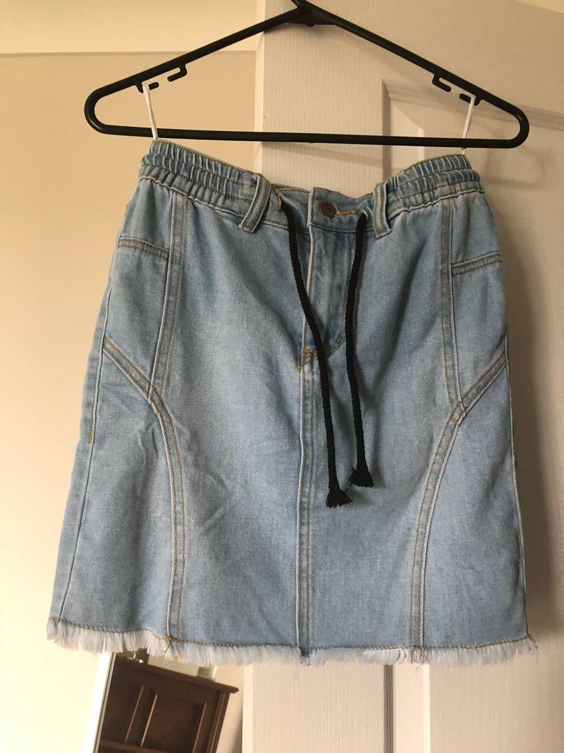 Refuge high waisted denim skirt with draw string