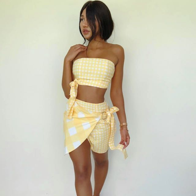 SABO SKIRT Pine Gingham Wrap Skirt