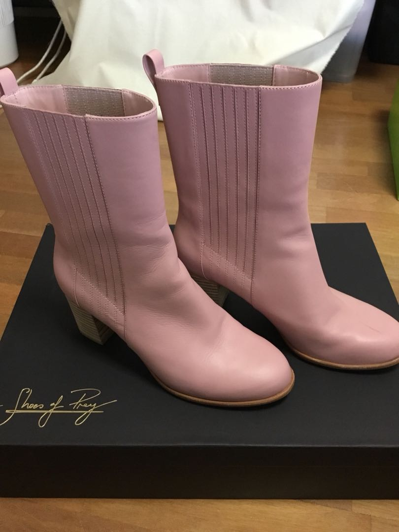Shoes of Prey pink leather calf high boots