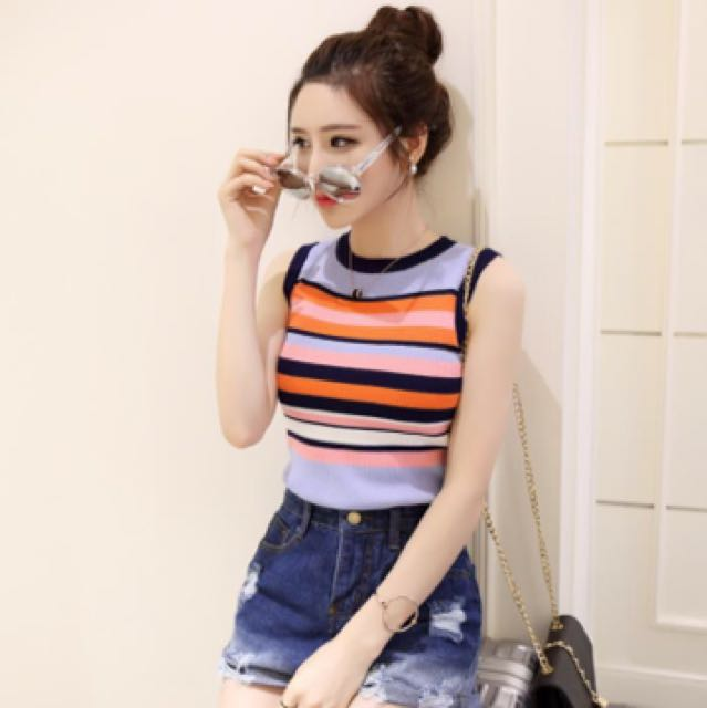 add77e290 Striped Crop Top; singlet; ulzzang Korean kpop jpop; woman women female  girl lady ladies; casual student school, Women's Fashion, Clothes, Tops on  Carousell