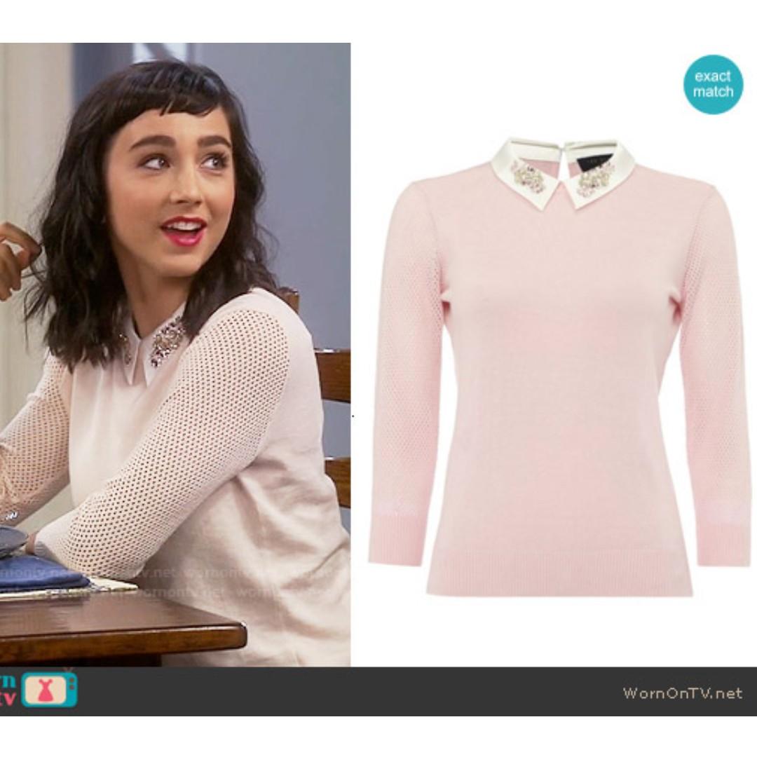 7ba6364663502 🇬🇧TED BAKER Pink Cotton-Silk Jumper with Embellished Collar   Mesh ...