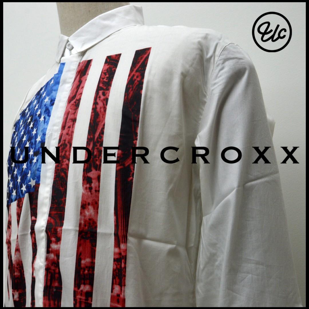 THEUNDERCROXX 6035L X AMERICAN FLAG WHITE PRINT SHIRT, Men's Fashion, Clothes, Tops on Carousell