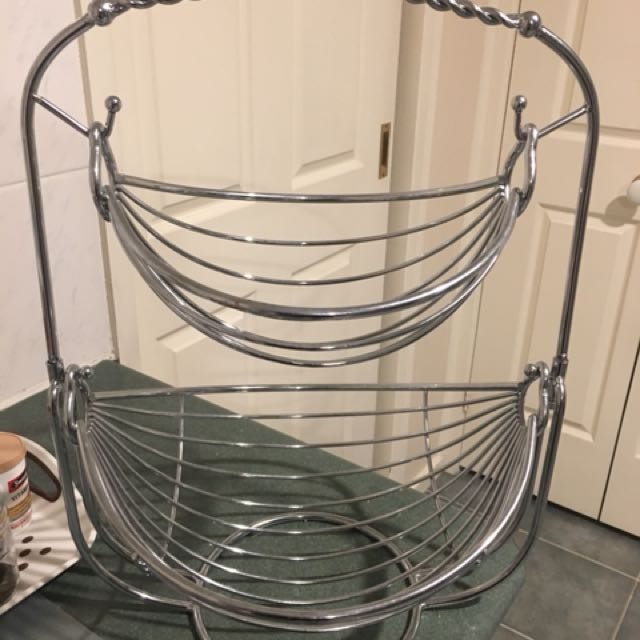 Two tier chrome fruit basket